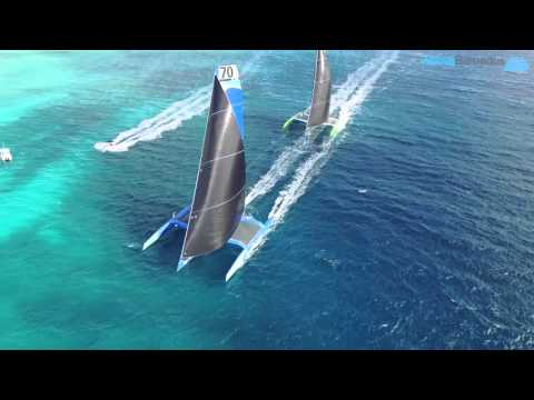 2016 Mount Gay Rum Round Barbados Island Race finish between Ms Barbados and Phaedo