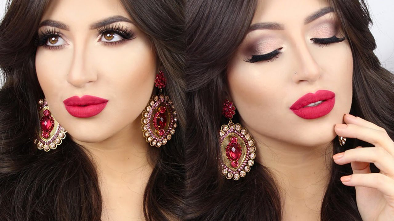 Soft Smokey Eye U0026 Red Lips Holiday U2661 Make Up Tutorial | Melissa Samways - YouTube