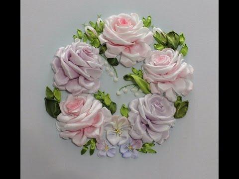 Вышивка лентами розы видеоурок