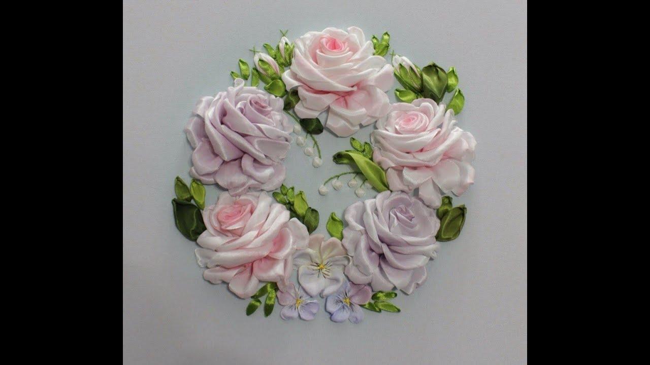 Вышивка лентами роз поэтапно