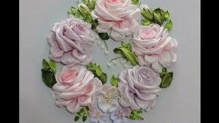Самый подробный мастер-класс по Вышивке лентами розы embroider a ribbon rose 如何绣带玫瑰 роза из лент
