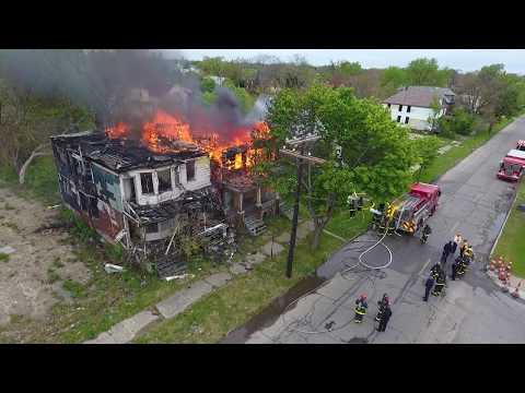 Detroit Fire Department (Drone View) Box Alarm 5-11-17 McClellan X Goethe