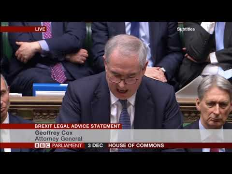 Attorney General Geoffrey Cox delivers his statement to the House of Commons