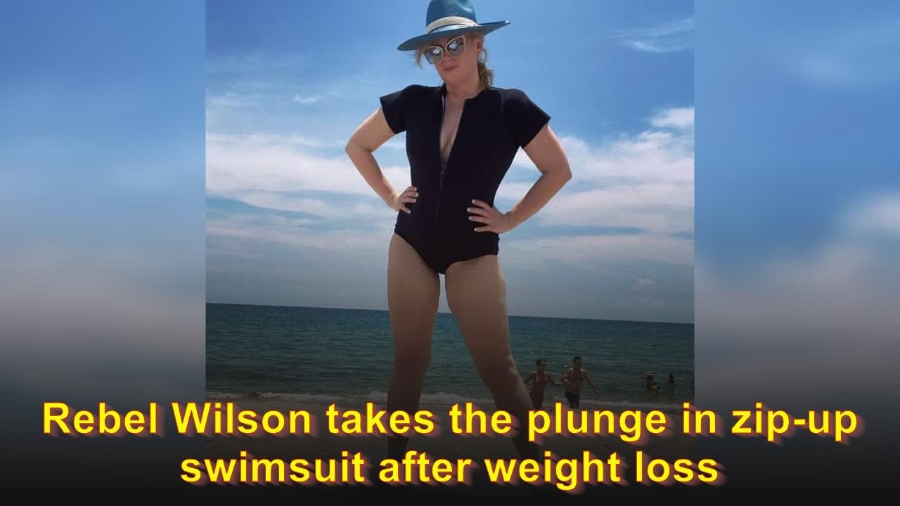 Rebel Wilson takes the plunge in zip-up swimsuit after weight loss
