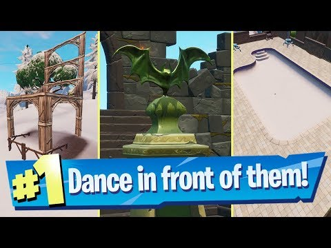 Dance In Front Of A Bat Statue In A Way Above-ground Pool And On A Seat For Giants Location Fortnite