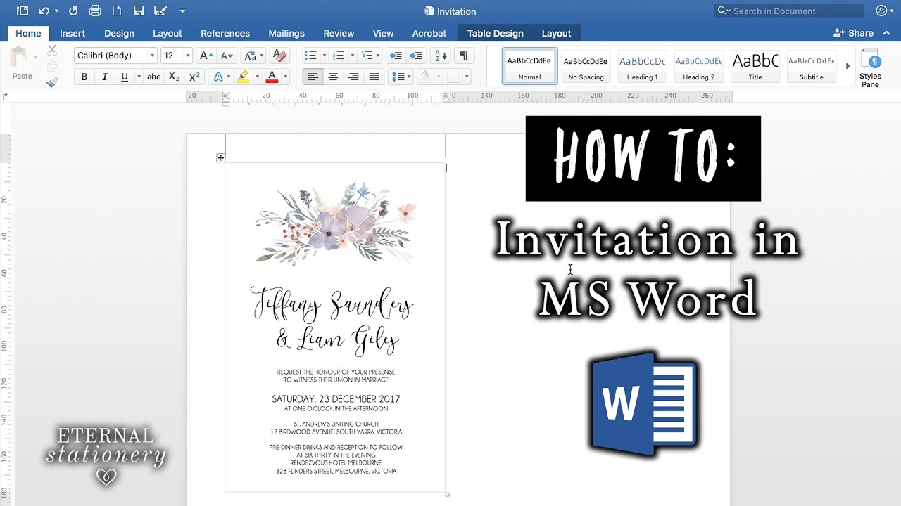 invitation in microsoft word