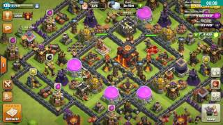 Clash of clans th10 base 3 star Mass miner ultimate attack, golem,wizard, miner