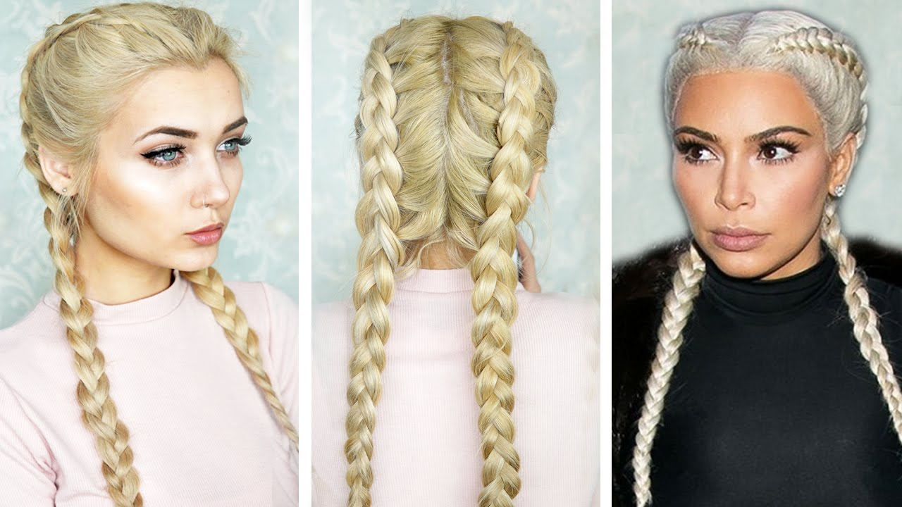 How To: Double Dutch Braid || Kim K Inspired - YouTube