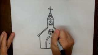 How To Draw A Church Step By Step Simple Easy Tutorial