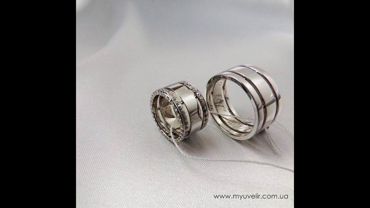 Необычные обручальные кольца из белого золота