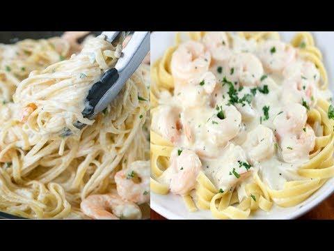 spaghetti-a-la-crème-fraîches-et-aux-crevettes👌👍🏼