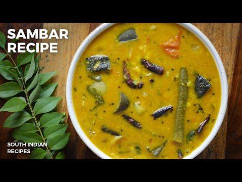 Sambar Recipe | South Indian Food Vegetarian | Easy Dinner Recipes | Dal Sambar Recipe For Lunch