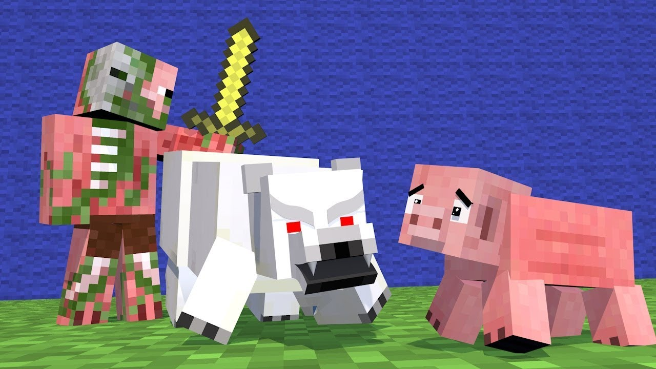 Pig Zombie Life - Wolf Life - Enderman Life Minecraft Top 5 Life Animations