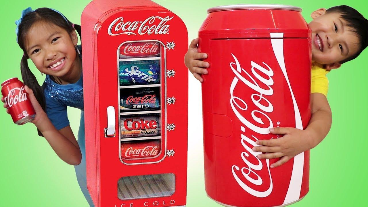 Download Wendy & Liam Pretend Play w/ Giant Coca Cola Vending Machine & Kid Refrigerator Toy