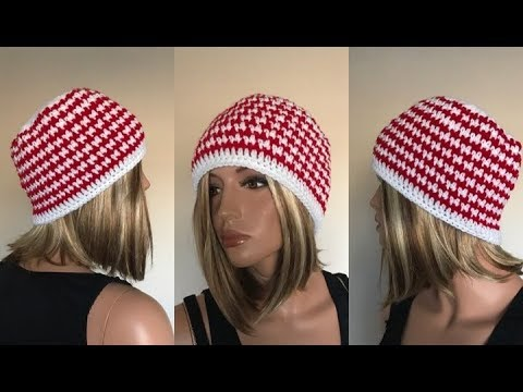 a2f9bc128c2 How to Crochet Houndstooth Unisex Beanie Hat Pattern  603│by  ThePatternFamily