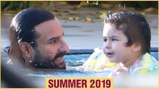 Taimur Ali Khan Enjoys In The Pool With Dad Saif Ali Khan | Summer 2019