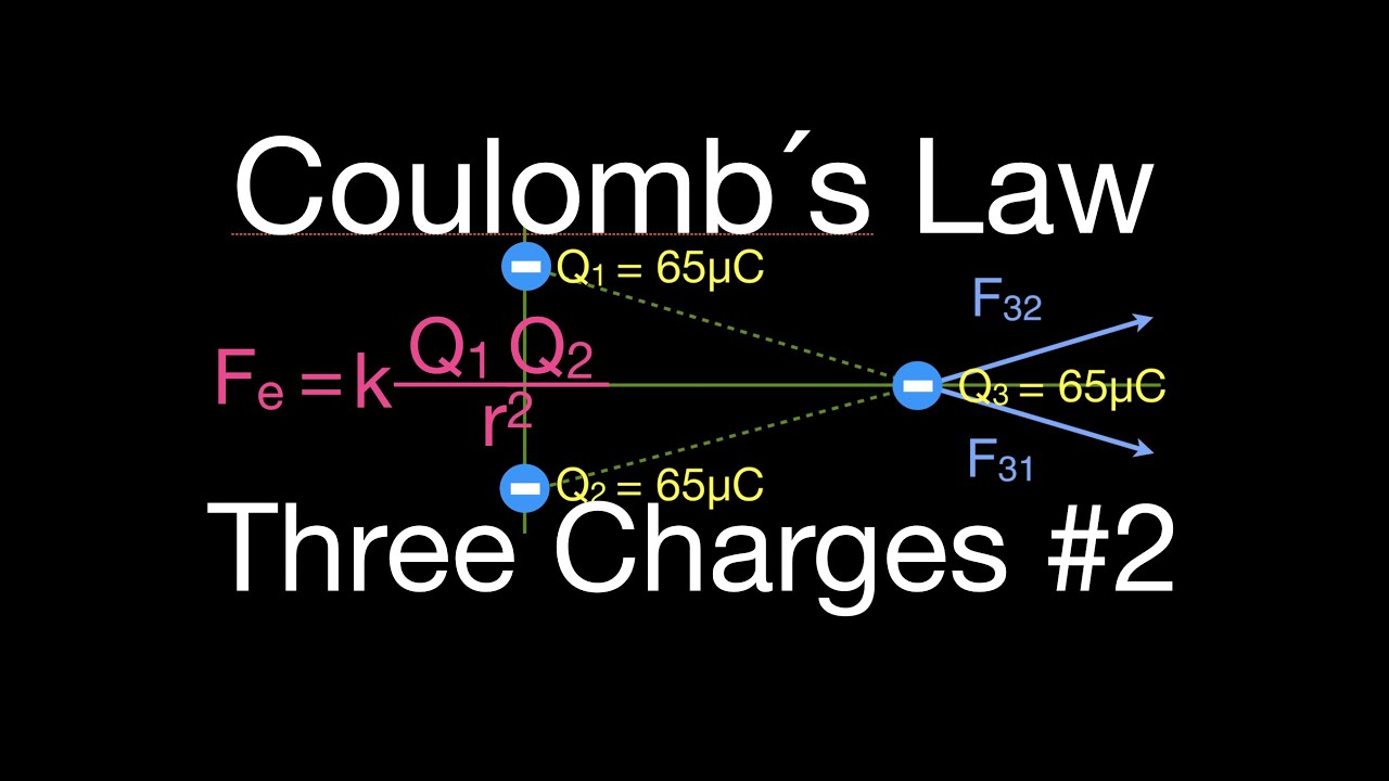 Coulombs Law Force Of Three Charges Arranged In A Triangle Youtube Steps For Drawing Diagram