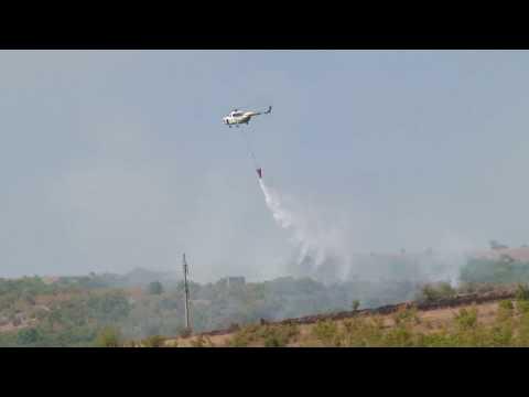 Fire in Kachreti, region of Georgia