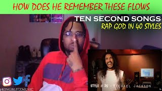 EMINEM  RAP GOD IN 40 STYLES (TEN SECOND SONGS) *Reaction*