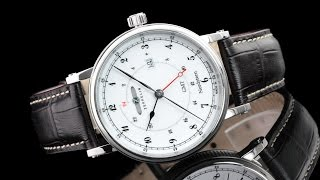 Zeppelin 7546-1 41mm Nordstern Series German Made Swiss Quartz GMT Leather Strap Watch | Time Visions