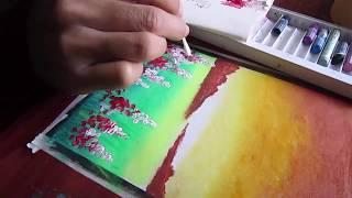 Vẽ tranh về mùa xuân đơn giản và dễ dàng với màu sáp dầu và acrylic
