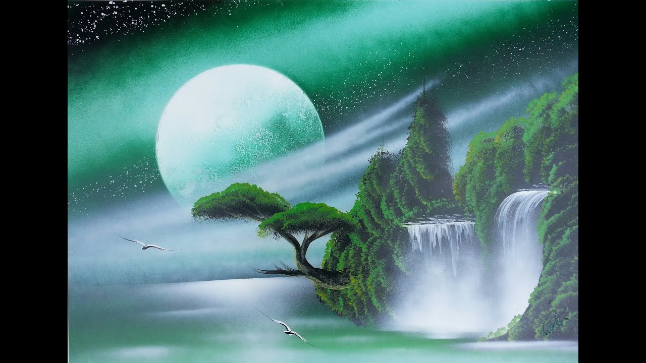 Amazing Spray Paint Art Dark Green Sky Trees And Waterfall Made By Street Artist Youtube