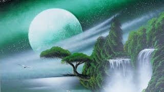 Amazing spray paint art - Dark green sky, trees and waterfall -made by street artist