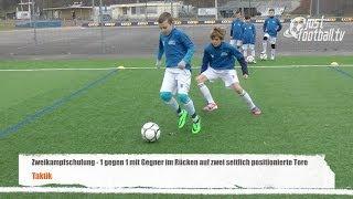 Fussballtraining: Seitliche Tore mit Gegner im Rücken - Zweikampfschulung - Taktik