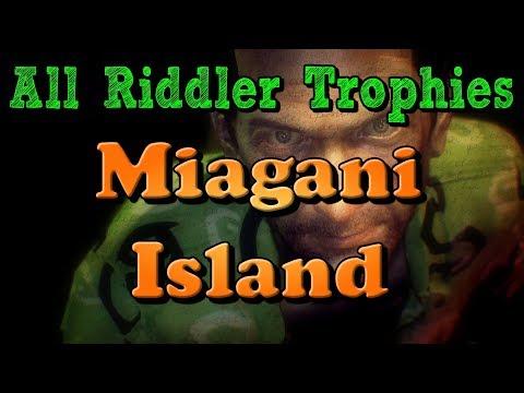 """Batman: Arkham Knight"" All Riddler Trophies in Miagani Island"