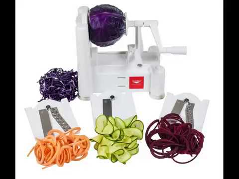Paderno World Cuisine A4982799 Tri Blade Vegetable Spiral Slicer Video Review Youtube