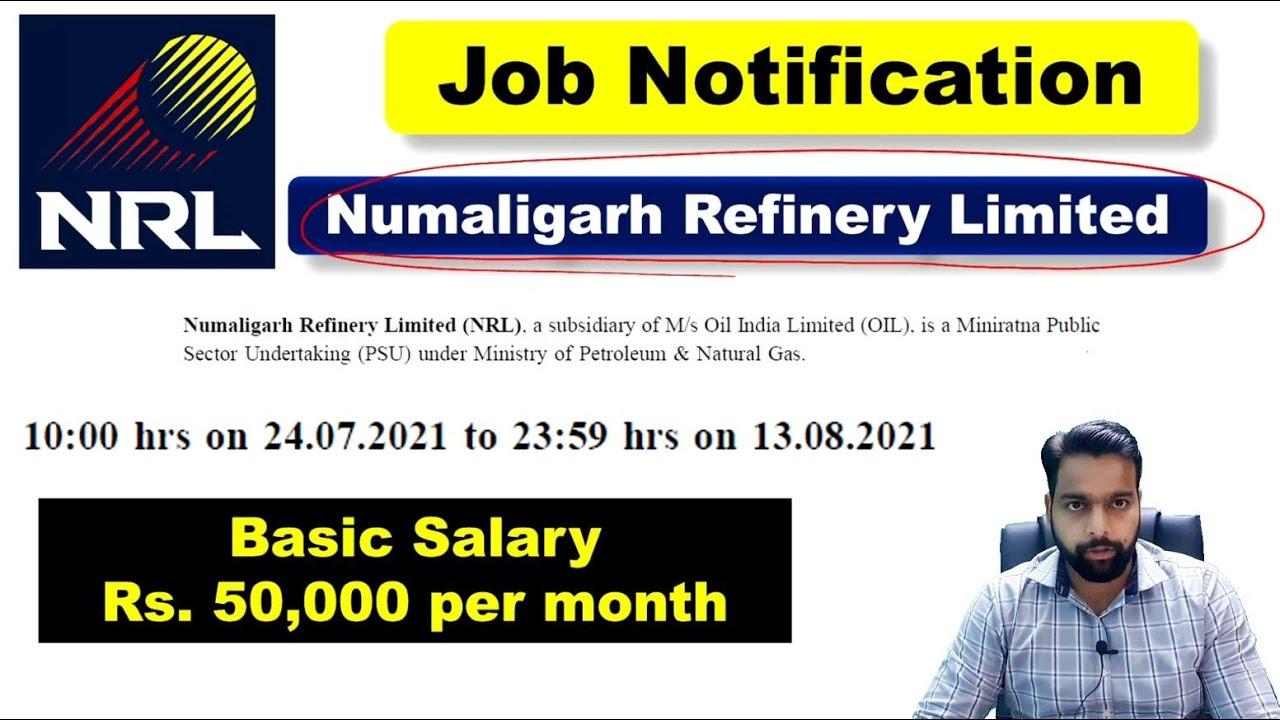 NRL Recruitment 2021 No GATE Exam Basic Salary Rs 50,000 per month