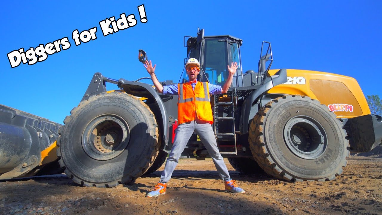Diggers for Kids with Blippi   The Wheel Loader Construction Truck