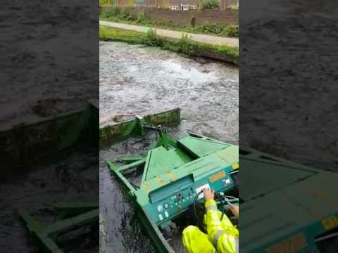 Reed Cutter boat in action