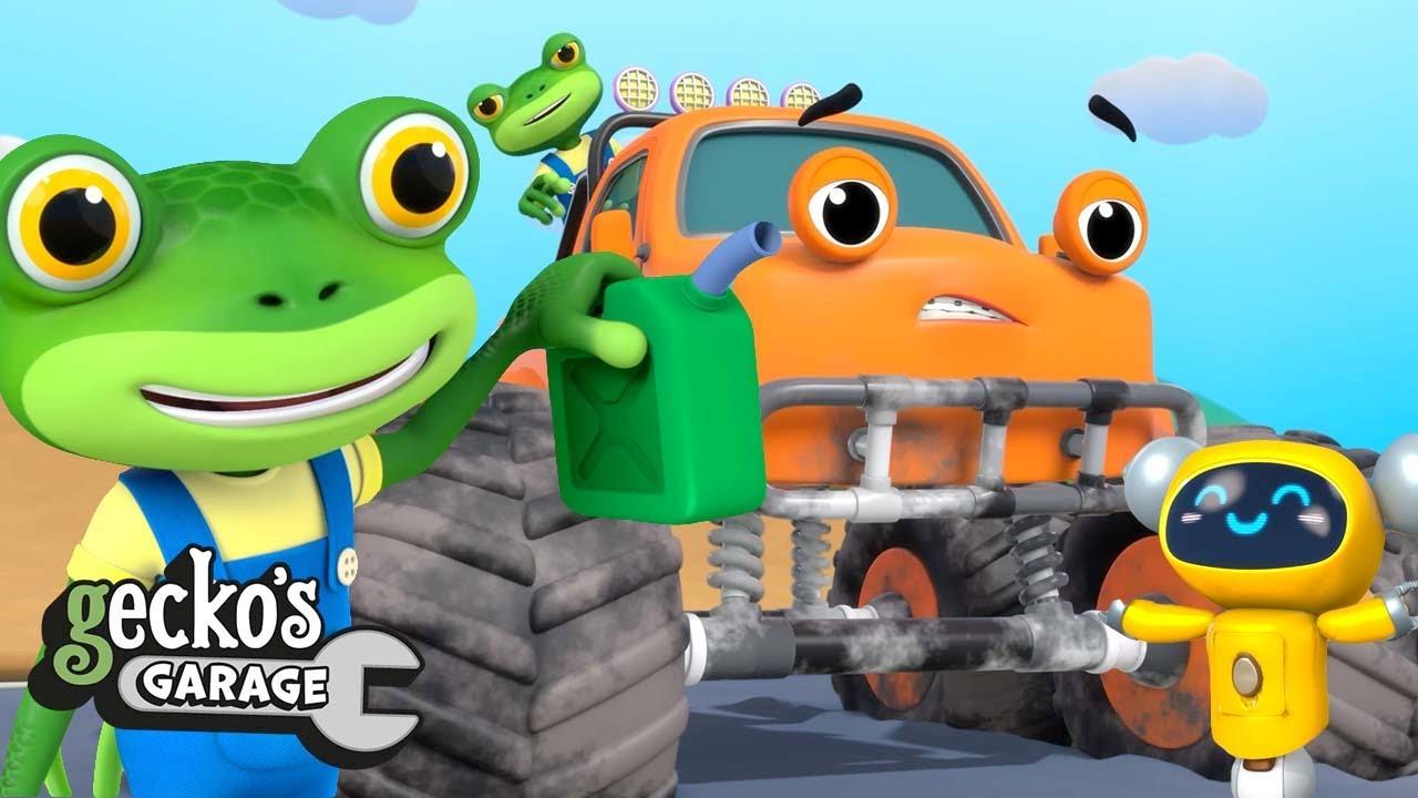 Monster Truck Rescue! | Gecko Don't Fall! | Gecko's Garage | Trucks For Children | Cartoons For Kids