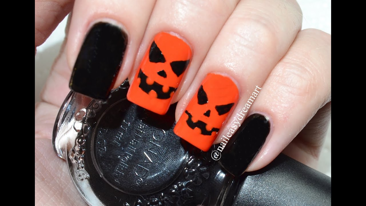 DIY Halloween Nail Art Tutorial How to Pumpkin Nails ...