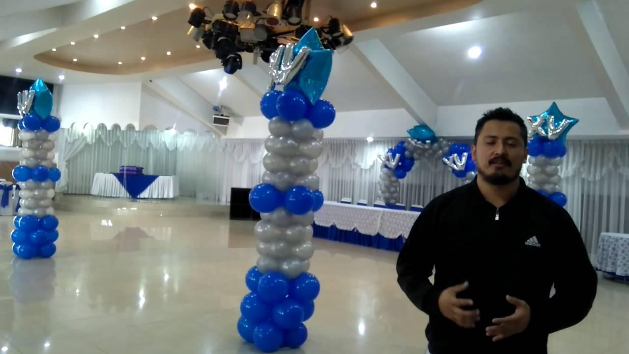 Decoraci n con globos 15 a os azul con plata youtube - Decoraciones en color plata ...