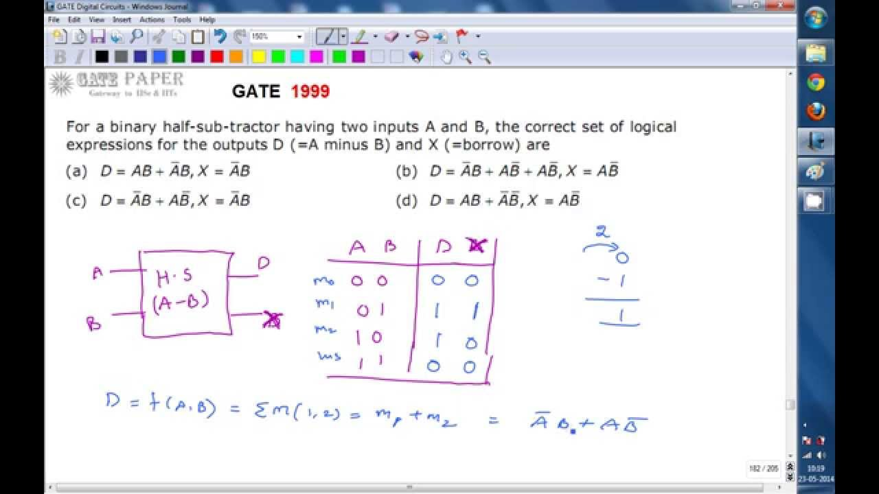 gate 1999 ece difference and borrow expressions of half subtractor [ 1280 x 720 Pixel ]