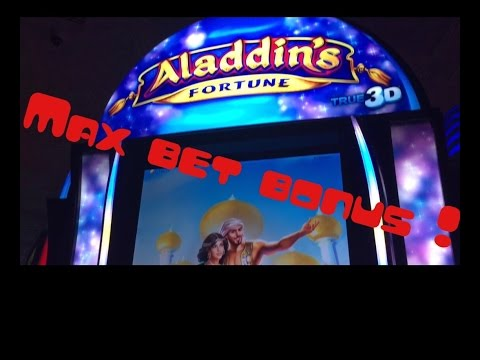 *NEW SLOT* Aladdin's Fortune 3D* Max Bet Bonus and Line Hits!!*Live Play* Slot Machine Bonus*By IGT*