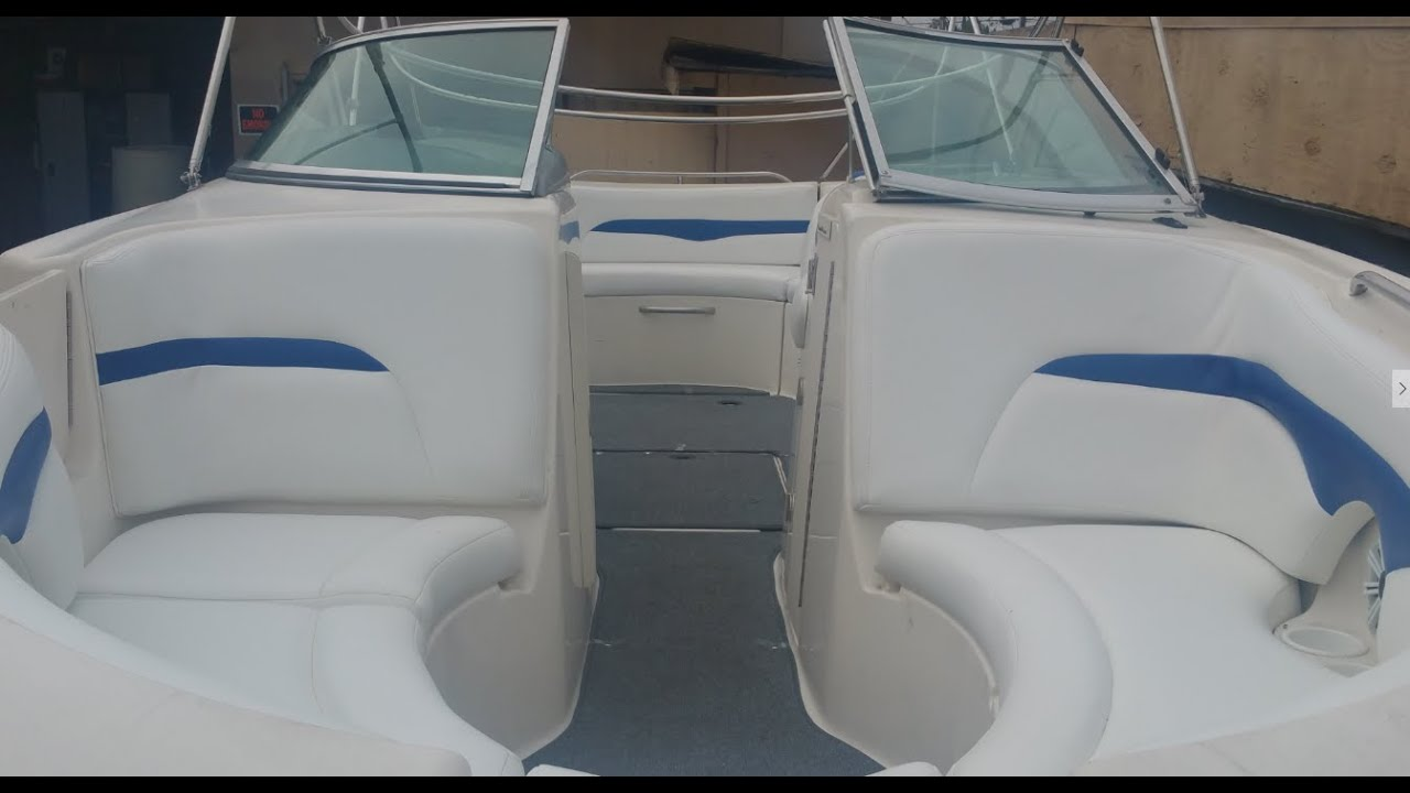 Nice Boat Interior, White Marine Vinyl And Blue Accent