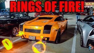 2000HP Lamborghini Shoots HUGE Flames at Car Meet! (Rings of Fire!)