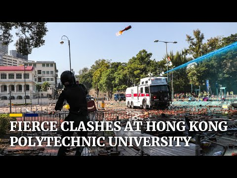 Protesters and police in fierce clashes at Hong Kong's Polytechnic University