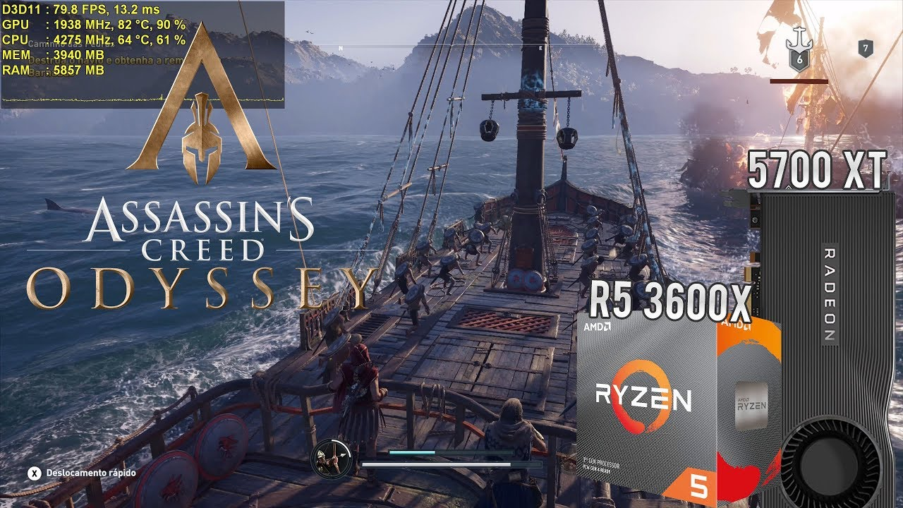 Teste AC Odyssey - Ryzen 5 3600x / 5700 XT / 16GB RAM - Full HD, 2.5K e 4K (Batalha Naval & Cida