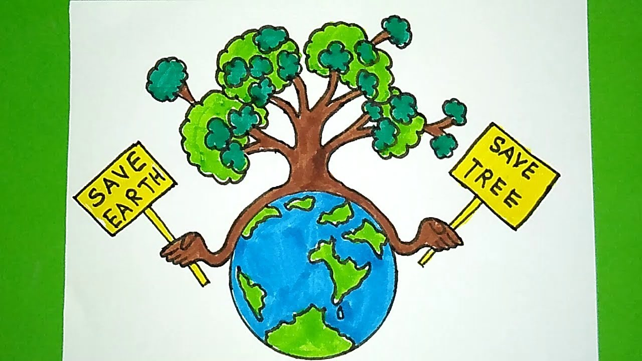How To Draw Save Tree And Save Earth Drawing Easy Drawing For