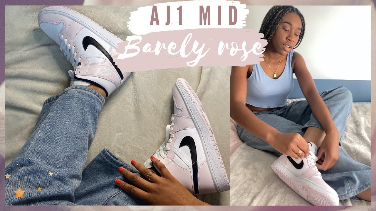 Air Jordan 1 Mid Barely Rose Review   Unboxing & On Feet
