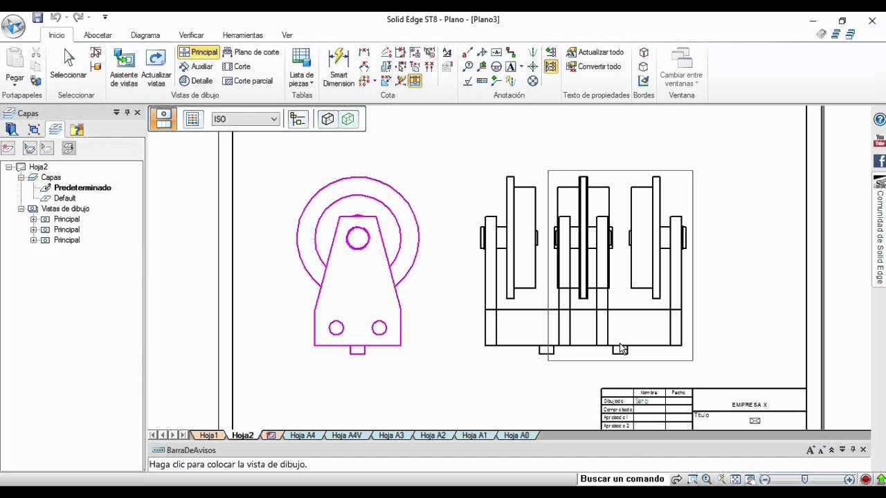 Solidedge st8 tutorial 11 planos 2d ii secci n total y for Programa planos 2d