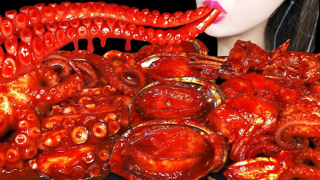 ASMR SPICY SEAFOOD 매운 해물찜 먹방 OCTOPUS, SHRIMP, SQUID,TTEOKBOKKI, 낙지, 새우, 떡볶이 EATING SHOW