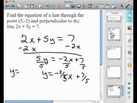 Finding The Perpendicular Equation Of A Line Through A Point Youtube