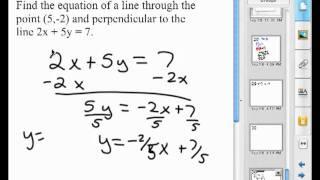 Het vinden van de loodlijn vergelijking van een lijn door een punt