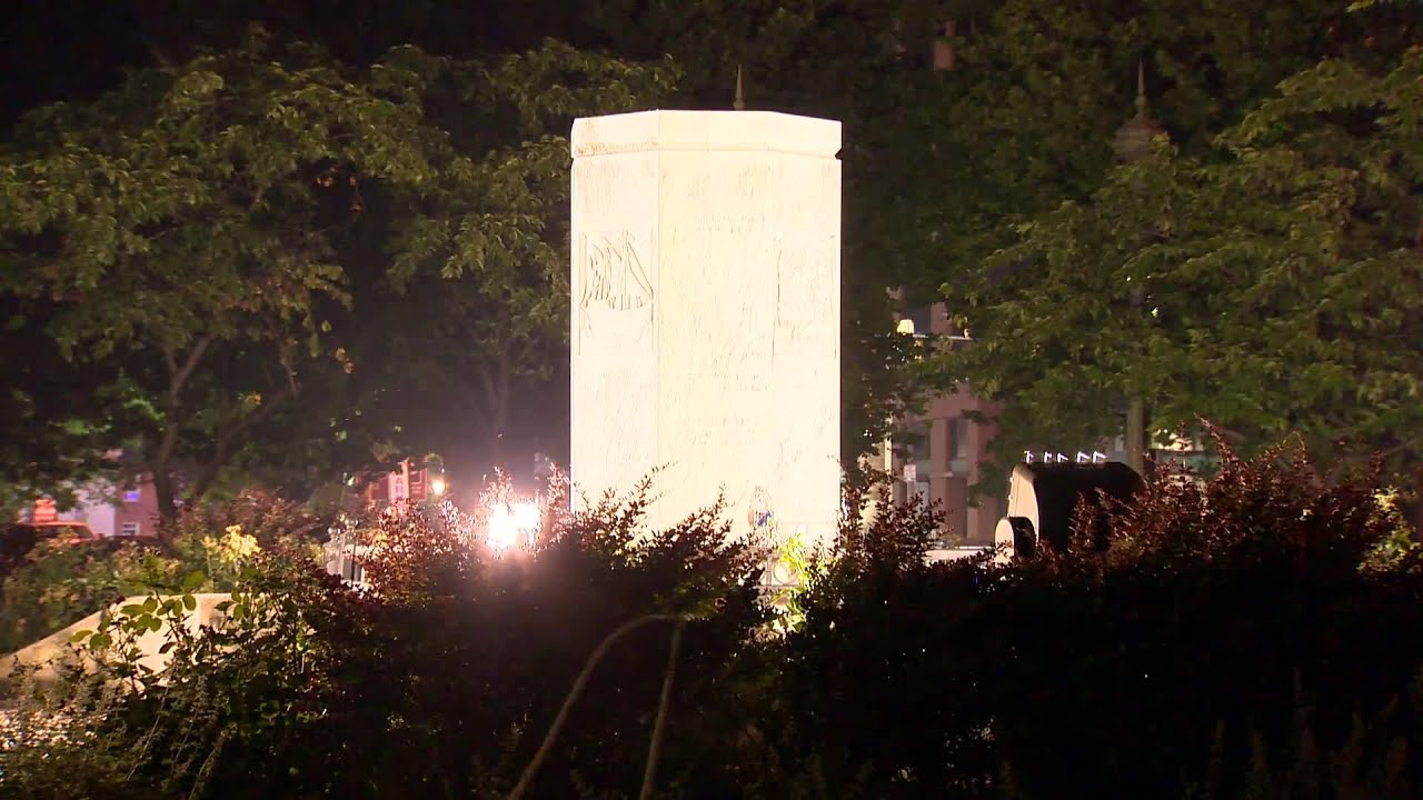VIDEO: Scene after Columbus statue toppled and thrown in harbor