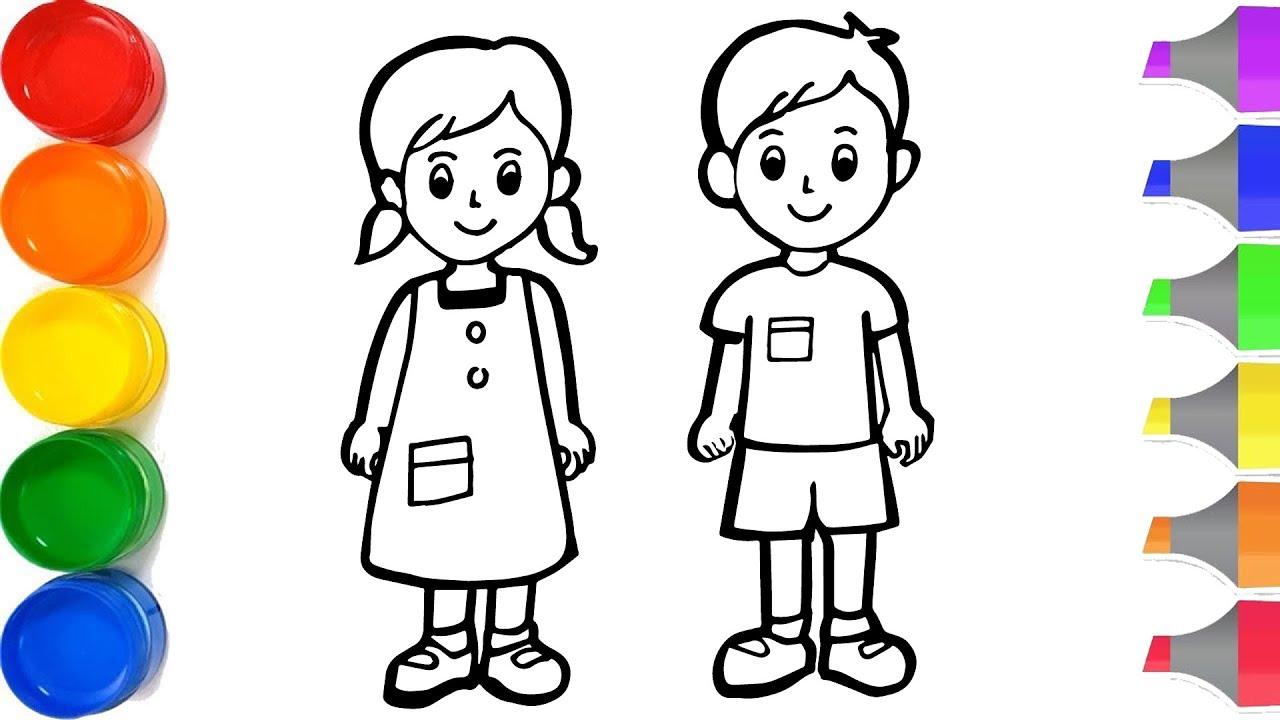 Cara Menggambar Dan Mewarnai Laki Laki Dan Perempuan Untuk Anak Anak The Boy And Girl Drawing Youtube